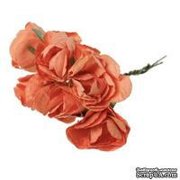 Розочки, цвет оранжевый, диаметр 25-30 мм, длина - 8 см, 6шт.