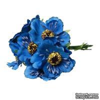 Мак, цвет синий, 11см, диаметр цветочка 4 см, 1шт.