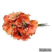 Мак, цвет оранжевый, 11см, диаметр цветочка 4 см, 1шт.