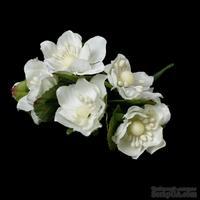 Белые цветочки, диаметр 40 мм, длина 11 см, 6шт.
