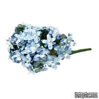 Тканевые цветочки, цвет голубой, 12см, 12 веточек (48 цветочков)