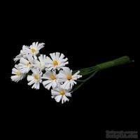 Хризантемы белого цвета, цветочек 12-13 мм, стебелек 10 см, 10шт.
