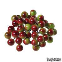 Ягодки калины красно-зеленые 14.0мм x 12.0мм, 40 ягодок