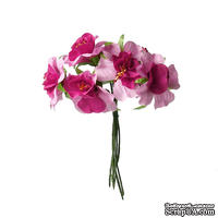 Тканевые цветы, цвет фуксия, диаметр 4 см, 6 шт.