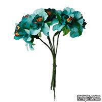 Тканевые цветы, цвет зеленый, диаметр 4 см, 6 шт.