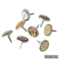 Набор брадсов с серебряной окантовкой №2, цвета - рандомные, 20 шт - ScrapUA.com