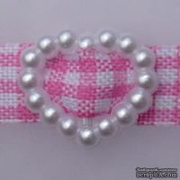 Перламутровые белые пряжечки/слайдеры в форме сердечка, 5 шт.