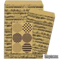 Конверты-пакетики из крафт-бумаги BoBunny - Kraft Gift Bags Music Notes