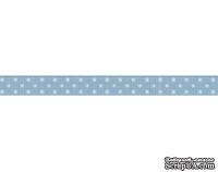 Лента в горошек BoBunny - French Blue Double Dot, ширина 1 см, длина 90 см