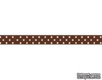 Лента в горошек BoBunny - Chocolate Double Dot, ширина 1 см, длина 90 см