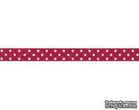 Лента в горошек BoBunny - Cranberry Double Dot, ширина 1 см, длина 90 см