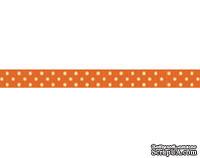 Лента в горошек BoBunny - Burnt Orange Double Dot, ширина 1 см, длина 90 см