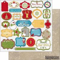 Лист двусторонней бумаги BoBunny - Dear Santa - Gift Tag, 30х30 см