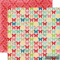 Лист двусторонней бумаги от Echo Park - Butterflies, 30x30 см