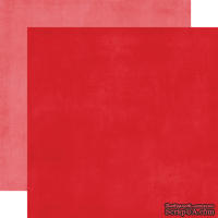 Лист двусторонней бумаги от Echo Park - Red/Pink Distressed Solid Paper, 30x30 см