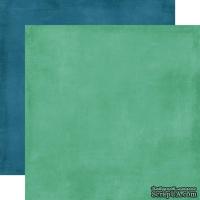 Лист двусторонней бумаги от Echo Park - Teal/Navy  Distressed Solid Paper, 30x30 см