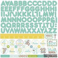 Лист наклеек от Echo park - Bundle Of Joy Boy Collection - A New Addition Alpha Sticker, 30 х 30 см