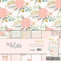 Набор бумаги My Mind's Eye - Bliss, 30x30 см, с фольгированием, с набором наклеек
