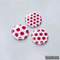 Скрап-значки (фишки). Красные горошки №1, 3 шт., f14