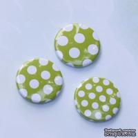 Скрап-значки (фишки). Зеленые горошки (лайм) №2, 3 шт