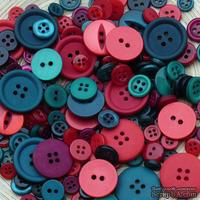 Набор пуговичек Mixed Cristmas, цвет: красный, бордовый, голубой, синий, фиолетовый, зеленый, 30 г