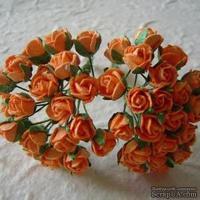 Открытая роза оранжевая, 8 мм, 10 шт.