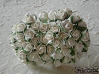Открытые бутоны роз Ivory - 8 мм, Цвет бежевый, 5 шт.