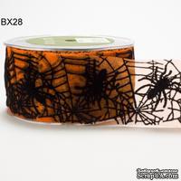 Лента в стиле Хелоуин - 2 Inch Sheer Spider Web Ribbon, 5 см, длина 90 см