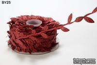 Лента LEAVES, цвет BURGUNDY, 90см  (дина листика 12 мм)