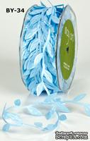 Лента LEAVES, цвет LIGHT BLUE, 90см  (дина листика 12 мм)