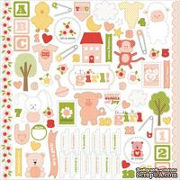 Набор наклеек Carta Bella - It's a Girl - Cardstock Stickers, размер 30х30 см