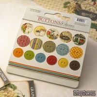 Набор высечек-чипборда в виде пуговиц с рисунком Webster's Pages - Spring Market - Chipboard Buttons & Twine