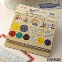 Набор высечек-чипборда в виде пуговиц с рисунком Webster's Pages - Yacht Club - Chipboard Buttons & Twine - ScrapUA.com