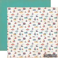 Лист двусторонней скрапбумаги Carta Bella Rough And Tumble - Floating Boats Paper, 30х30 см
