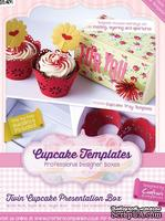 Шаблон-трафарет от  Crafters Companion -Cupcake Templates Collection - Twin Cupcake Presentation Box