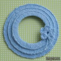 Набор вязаных круглых рамок ручной работы, цвет голубой, диаметр 8см, 7см и 5,5см,материал хлопок/лен