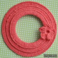 Набор вязаных круглых рамок ручной работы, цвет кораловый, диаметр 8см, 7см и 5,5см,материал хлопок/лен