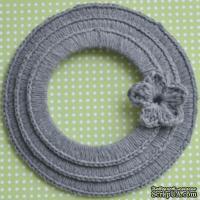 Набор вязаных круглых рамок ручной работы, цвет темно-серый, диаметр 8см, 7см и 5,5см,материал хлопок/лен