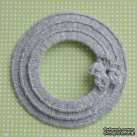 Набор вязаных круглых рамок ручной работы, цвет светло-серый, диаметр 8см, 7см и 5,5см,материал хлопок/лен