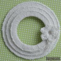 Набор вязаных круглых рамок ручной работы, цвет белый, диаметр 8см, 7см и 5,5см,материал хлопок/лен