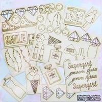 Набор чипборда от Каралики - Super Girl, 55 элементов