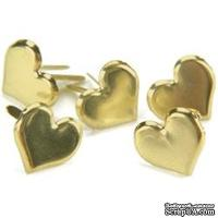 Набор брадсов Creative Impressions - Gold - Hearts, 50 штук, цвет золото