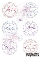 Акриловые штампы от Wild Rose Studio - Christmas Circles, 8 шт