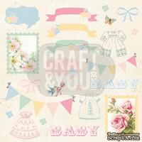 Лист скрапбумаги от Craft and You Design - Hello Baby, 30х30 см, CP-HB07