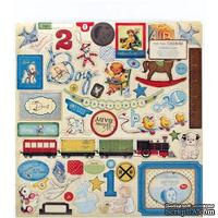 Набор наклеек из чипборда Crate Paper - Little Boy Blue Chipboard Accents Stickers