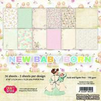 Набор односторонней скрапбумаги от Craft & You Design - NEW BABY BORN, 15x15 см, 36 шт, 190 гр/м2