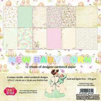 Набор плотной скрапбумаги от Craft & You Design - NEW BABY BORN, 30x30 см, 12 шт, 250 гр/м3