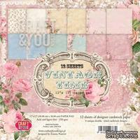 Набор плотной скрапбумаги от Craft & You Design - VINTAGE TIME, 30x30 см, 12 шт, 250 гр/м2