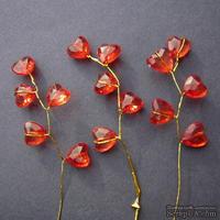 Веточка с кристаллами-сердечками, цвет красный, 1 шт.