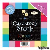 Набор кардстока DCWV Brights White Core, 20х20 см, 58 листов, текстурная поверхность, белый внутренний слой (CS-003-00002)